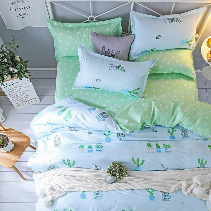Cactus Plant Pattern 4pcs Girl Boy Kid Bed Cover Set Duvet Cover Adult Child Bed Sheet Pillowcase Comforter Bedding Set 61017