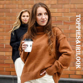 Women sweater turtleneck oversize pullover sweater autumn winter knitted tops irregular hem Korean Fashion