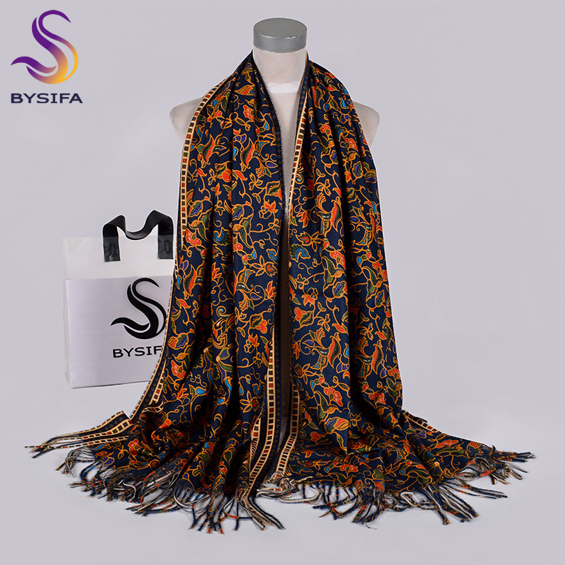 [BYSIFA] Navy Blue Gold Long Scarves Printed For Women Winter Fashion Luxury Cashmere Pashmina Wraps Ladies Fall Neck Head Scarf