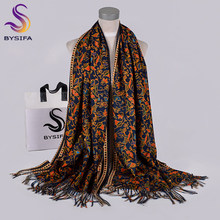 [BYSIFA] Navy Blue Gold Long Scarves Printed For Women Winter Fashion Luxury Cashmere Pashmina Wraps Ladies Fall Neck Head Scarf(China)