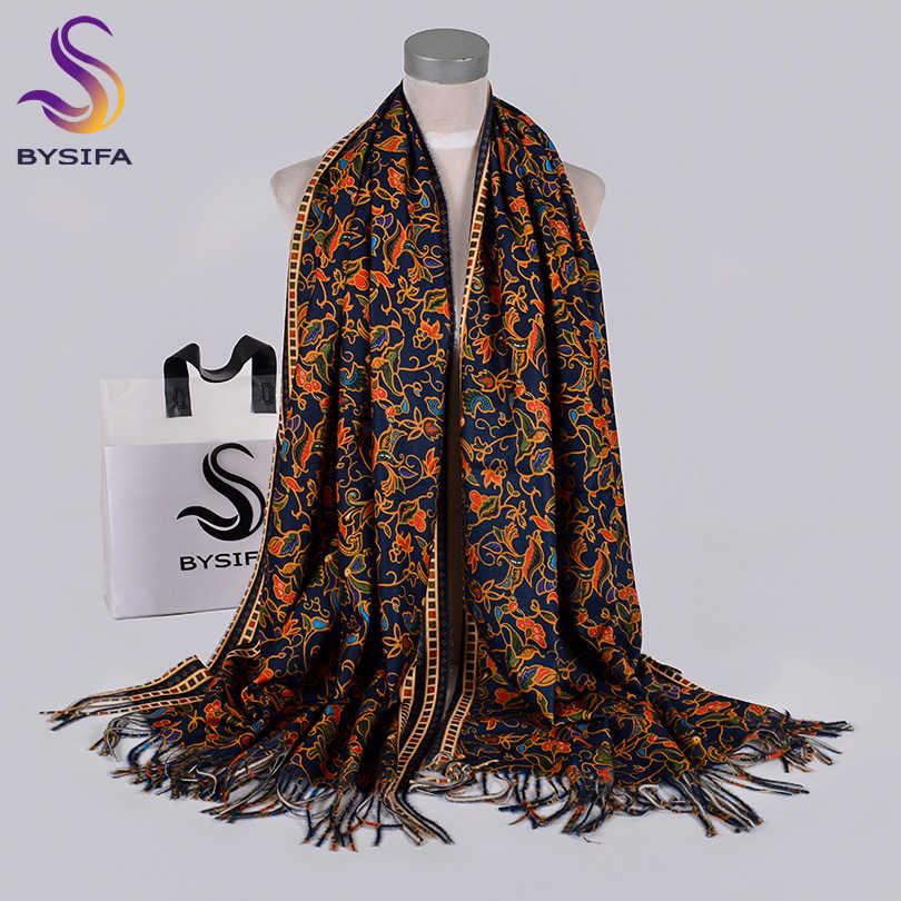 [Bysifa] 紺ゴールドロングスカーフ女性のための冬のファッションの高級カシミヤパシュミナラップ女性秋ネックヘッドスカーフ