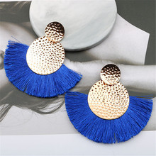 CRLEY 2019 Round Tassel Earring Europe Style Vintage Women Jewelry Elegant Blue Red Christmas Gifts Boucle Doreille Femme