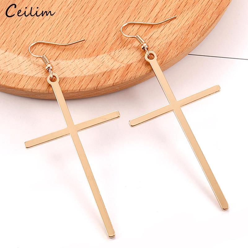Ethnic Big Cross Long Earrings For Women Gold Color Drop Earrings Jewelry Dropshipping Bijoux Ethnique Femmes