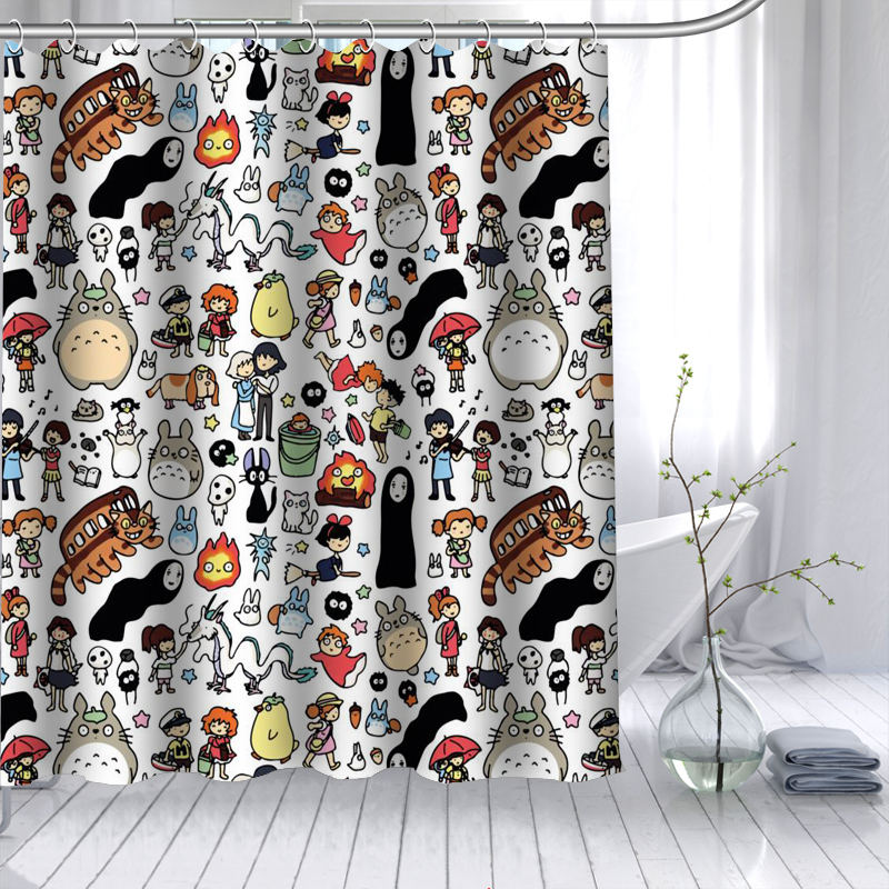 New Arrival Totoro Anime Shower Curtain Polyester Fabric High Defintion Print Bathroom Curtain Waterproof 12 Hook Bath Curtain