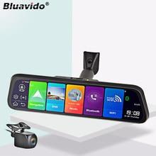 Bluavido 4g android 8.1 espelho do carro gravador de vídeo gps navegação adas espelho retrovisor câmera fhd 1080p dupla lente traço cam dvrs