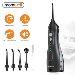 Mornwell Portable Oral Irrigator With Travel Bag Water Flosser USB Rechargeable 5 Nozzles Water Jet 200ml Water Tank Waterproof