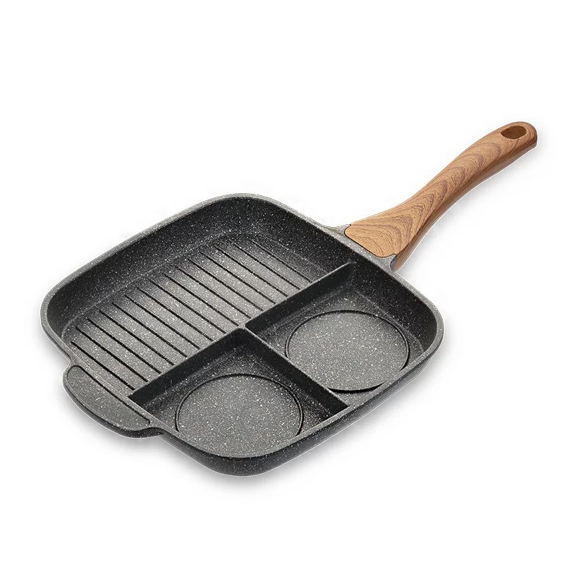Frying Pan Stone Ceramic Steak Grill Pans Breakfast Frying Eggs Non-Stick Frying Pan Kitchen 3 Grid Multi-function Cooking Pans