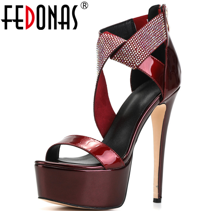 FEDONAS Sexy Rhinestone Gneuine Leather Women Sandals Wedged Platforms High Heels Pumps 2020 New Summer Night Club Shoes Woman