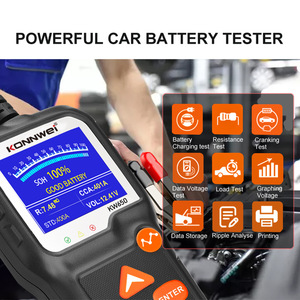 Image 4 - جهاز اختبار بطارية الدراجة النارية, جهاز اختبار بطارية الدراجة النارية 12 فولت 6 فولت KONNWEI KW650 محلل نظام بطارية 2000CCA أدوات اختبار الشحن كرنك للسيارة