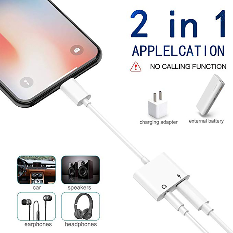 Lightning To 3.5mm Headphone Jack Adapter, IPhone Headphone Adapter & Charger Splitter, Support Compatible With IPhone 11/X/8/7