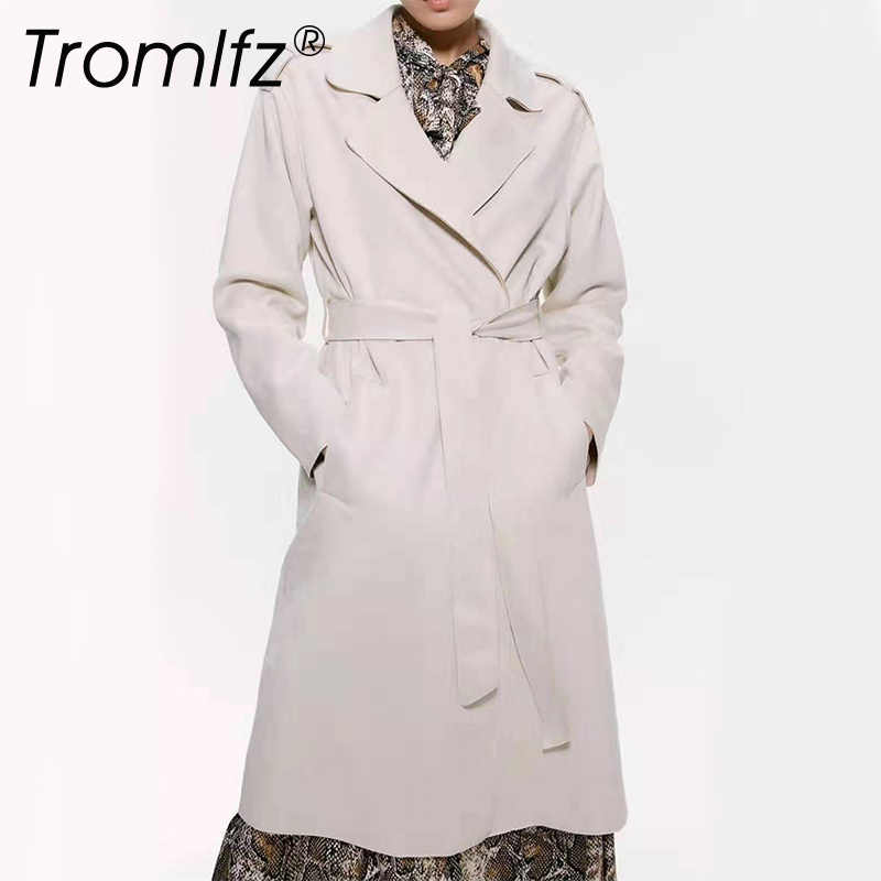 Tromlfz 2019 Women Solid Faux Soft Leather Trench Coat Belt Casual Pu Long Outerwear