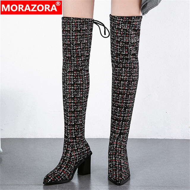 MORAZORA 2020 neue ankunft über das knie stiefel frauen spitz herbst winter high heels stiefel damen party hochzeit schuhe