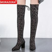 MORAZORA 2020 ใหม่มาถึงเข่ารองเท้าผู้หญิงpointed Toeฤดูใบไม้ร่วงฤดูหนาวรองเท้าส้นสูงรองเท้าสุภาพสตรีรองเท้าแต่งงาน