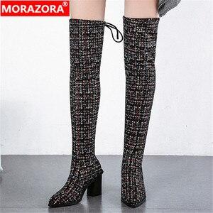 Image 1 - Женские сапоги выше колена MORAZORA, Черные Сапоги выше колена с острым носком, на высоком каблуке, осенне зимний сезон 2020