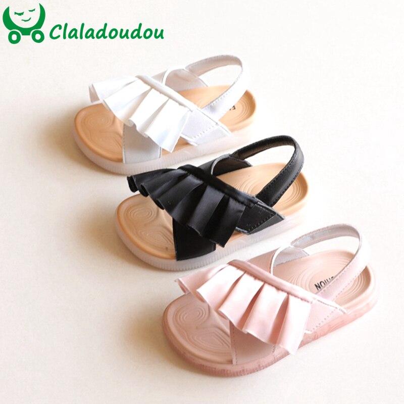 14.5-16.5cm Lace Ruffles Girls Sandals Toddler Princess Wedding Party Dress Shoes For Summer Beach Sandals Flats Shoe For Kids