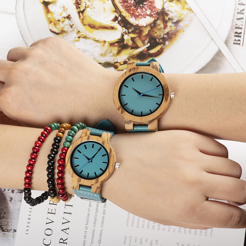 BOBO BIRD Women Wooden Couple Wathes Men Quartz Ladies Wristwatch Lover's Leather Strap Turquoise Blue Relogio Feminino