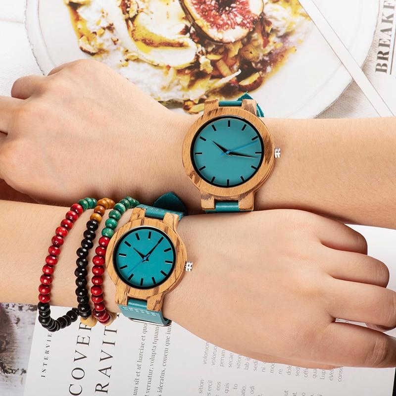 BOBO BIRD Women Wooden Couple Wathes Men Quartz Ladies Wristwatch Lover's Leather Strap Turquoise Blue Relogio Feminino