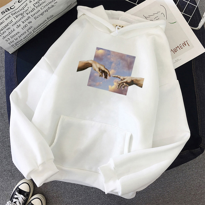 Kawaii Womens Loose Streetwear Sweatshirts Hoodies Women Hooded Simple All-match Leisure Oversize Pullovers Korean Style Warm