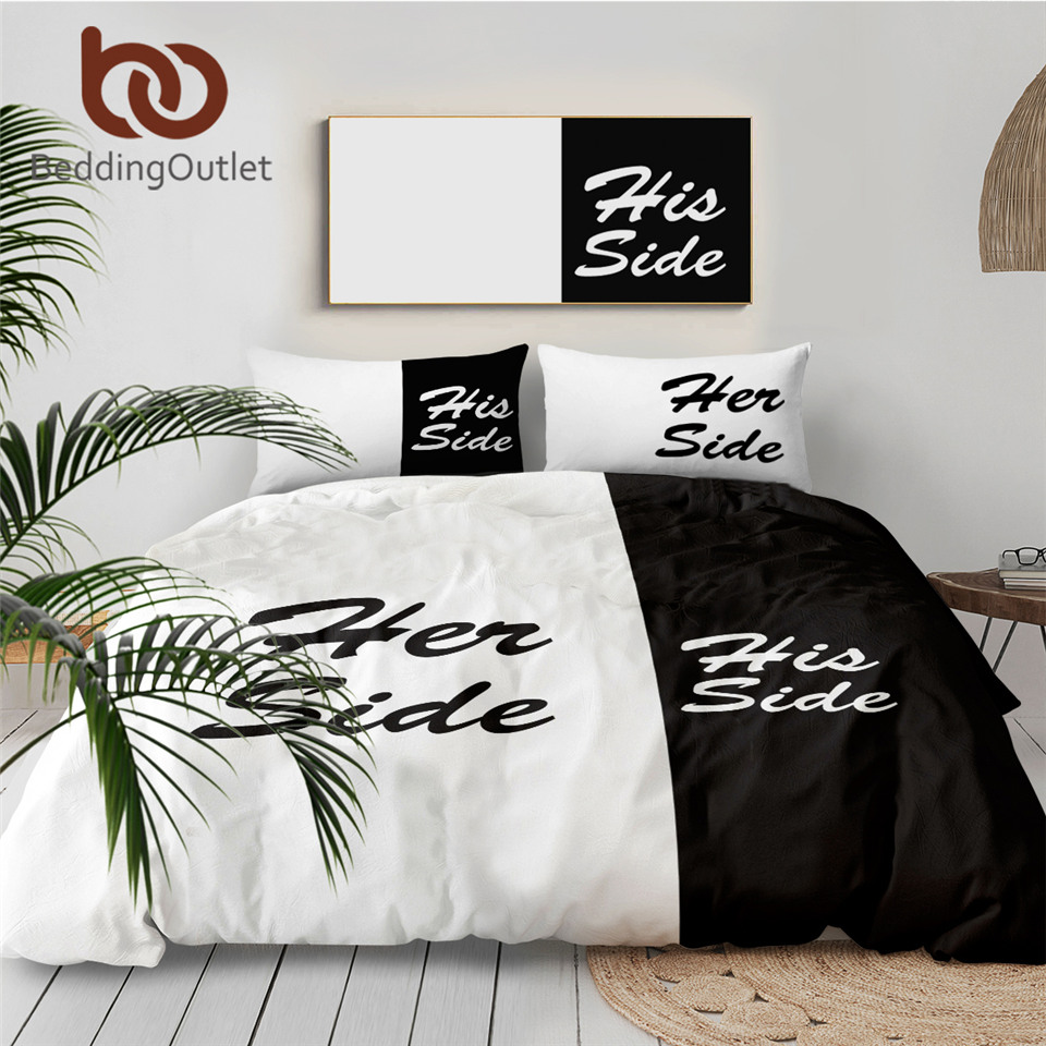 BeddingOutlet Black and White Bedding Set His Side & Her Side Couple Home textiles Soft Duvet Cover with Pillowcases 3Pcs Hot 1