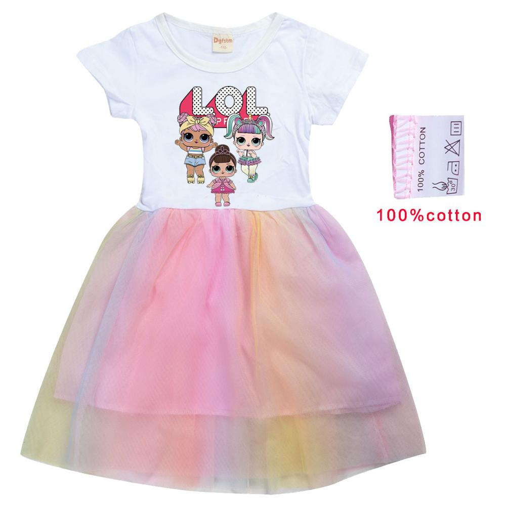 LoL Surprise Summer Girl Kid T Shirt Colour Gauze Pleated Princess Patchwork Dress Cute Cartoon Printed Doll Baby Child Clothes 5