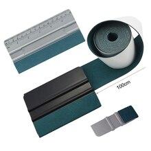 FOSHIO 100cm Suede Felt Tape Cloth Carbon Fiber Wrapping Vinyl Squeegee No Scratch Glass Tint Plastic Scraper Cleaning Car Tools