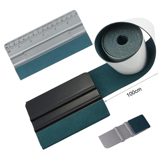 Foshio 100Cm Suede Vilt Tape Doek Carbon Fiber Wrapping Vinyl Zuigmond Geen Kras Glas Tint Plastic Schraper Cleaning Auto gereedschap