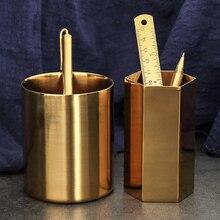 Vintage Brass Hexagon Round Metal Pen Holder, Office Pencil Holder Desk Organizer Souvenir Pencil Cup