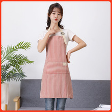 Japanese-style striped cotton and linen apron kitchen linen cotton apron anti-pollution and oil-proof work apron wq002 kitchen oil proof cloth apron black