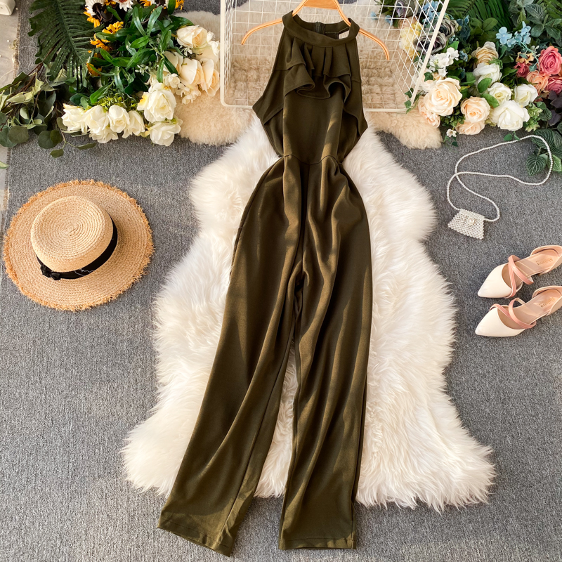 Fashion Ruffles Slim Halter Neck Summer Tank Full Length Jumpsuit High Waist Casual Women Sleeveless Elegant Playsuit  Romper