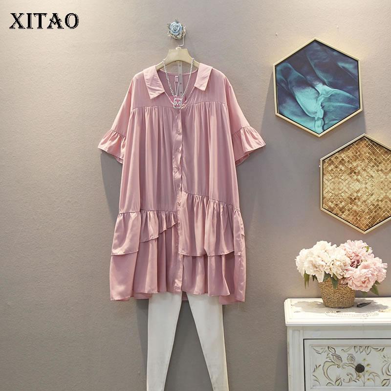 XITAO Korean Casual Loose Plus Size V Neck Short Sleeve Small Fresh Dress Ruffle 2020 Summer Fashion New Women Dress XJ4914