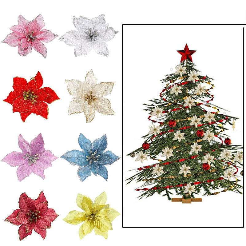 5/10Pcs 13cm Glitter Artificial Flowers For Christmas Tree Decoration DIY Christmas Ornaments Home Wedding Xmas Party Decoration|Artificial & Dried Flowers|   - AliExpress