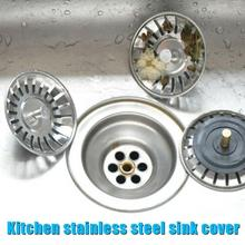 Kitchen-Sink-Stopper-Plug Strainer Drain-Basin Sinkhole-Cover Rubber Stainless-Steel
