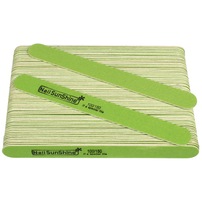 100pcs/lot Sandpaper Nail File 100/150 Green Wood Manicure Buffer Straight Strong Thick Nail Files Double-sided Lime Nail Tools