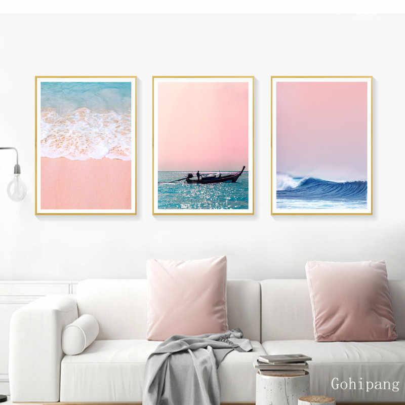 Картина на холсте, пляжный корабль, морская стена, искусство, скандинавские плакаты и принты, ананас, украшение дома, картины для гостиной