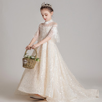 Luxury Small Trailing Embroidery Flower Girl Dresses Wedding High Collar Flare Sleeve Kids Pageant Dress Birthday Party Gowns