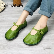Johnature 2021 New Genuine Leather Flats Women Shoes Round Toe Casual Shallow National Style Soft Handmade Concise Ladies Shoes