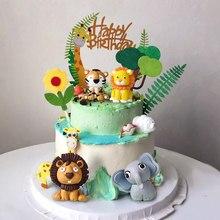 Woodland Tiere Kuchen Decor Weichen Ton Löwe Elefant Tiger One 1st Dschungel Safari Kuchen Topper Glücklich Geburtstag Party Decor Kinder