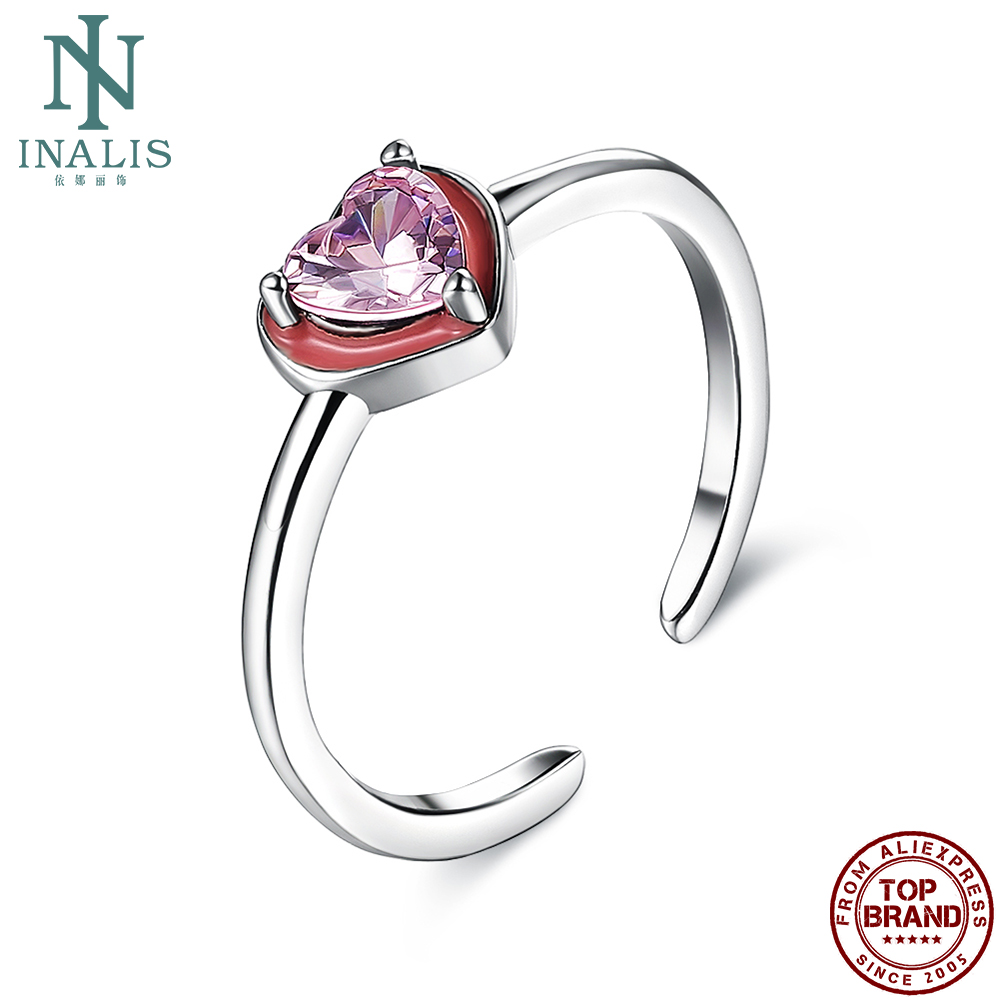 INALIS S925 Sterling Silver Women Rings Double Heart Design Romantic Valentines Day Jewelry Prefect Dating Gift For Girlfriend