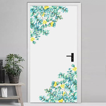 Green Leaves Wall Stickers for Bedroom Living room Yellow flower Wall Decals Removable Vinyl DIY Sticker Plant Murals Home Decor travel agency office wall sticker vinyl interior home decor decals say hello to summer voyage murals removable wallpaper 3605