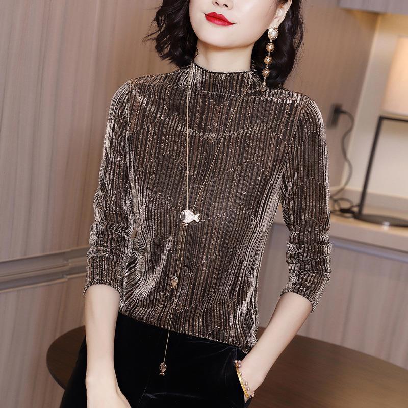 Women Slim Shirt Turtleneck Elastic  Long Sleeve Short T-Shirt  Female Autumn And Winter Tops And Tees Short Casual Gra
