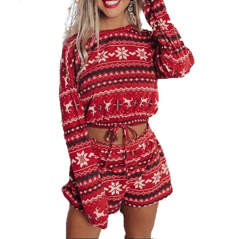 Women Christmas Pajamas Sets Printed Full Length R