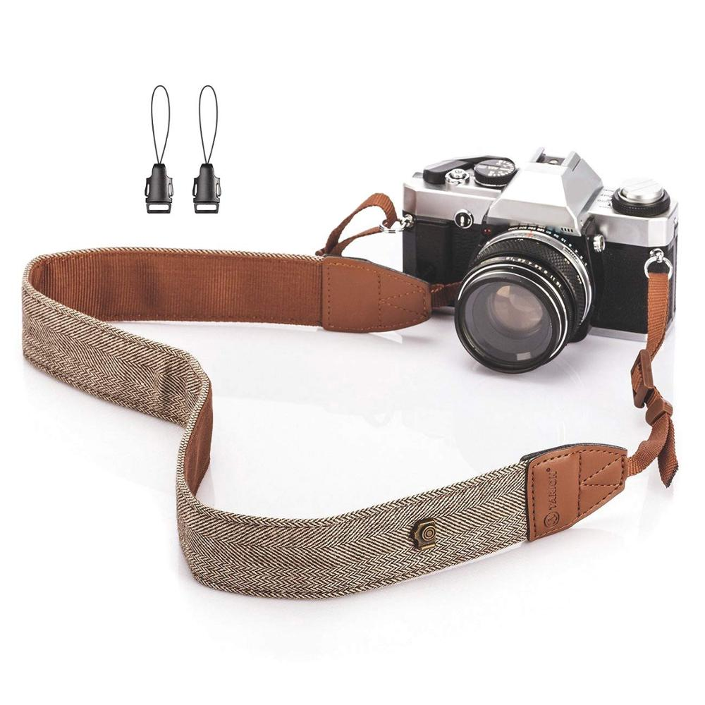 Foleto Universal Adjustable Camera Shoulder Neck Strap Cotton Leather Belt For Nikon Canon DSLR Cameras Strap Accessories Part