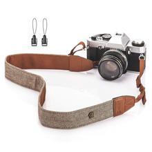 Foleto evrensel ayarlanabilir kamera omuz askısı pamuk deri kemer Nikon Canon için DSLR kameralar askısı aksesuarları parçası