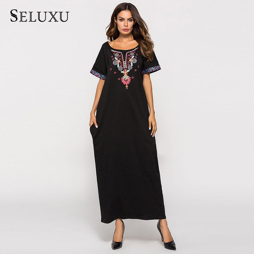Seluxu 2019 Autumn Women Dress Embroidered Muslim Maxi Robe Crew Neck Short Sleeve Long