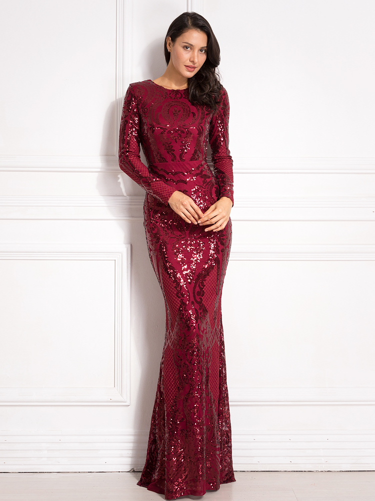 Sequined Maxi Dress Full Sleeved O Neck Stretchy Autumn Winter Long Evening Party Dress 9