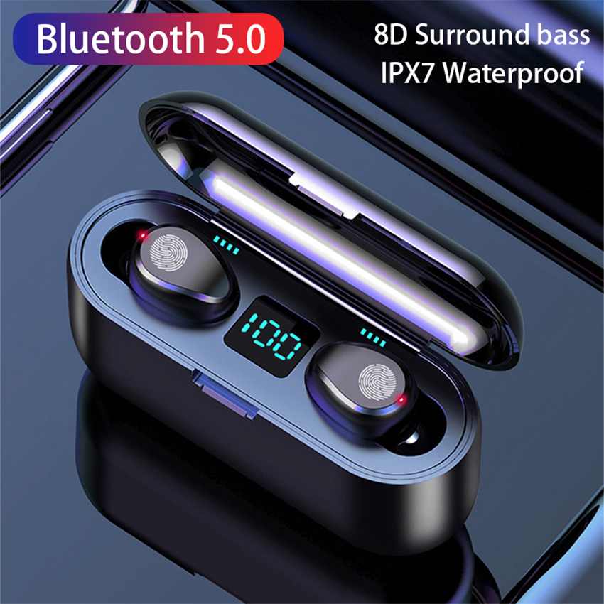 V5.0 sem fio bluetooth fone de ouvido hd estéreo esportes fone de ouvido à prova ddual água com microfone duplo e 2000mah bateria caso carga