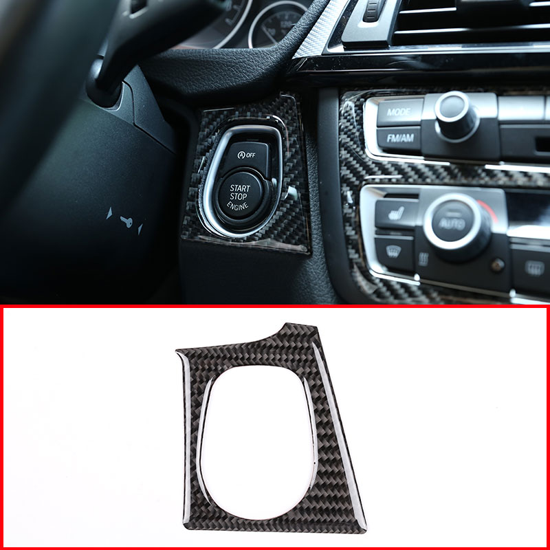 Carbon Fiber Car Engine Start Stop Frame Stickers for <font><b>BMW</b></font> F30 F35 <font><b>3</b></font> 4 <font><b>Series</b></font> <font><b>GT</b></font> 2013-2018 Car Accessories image