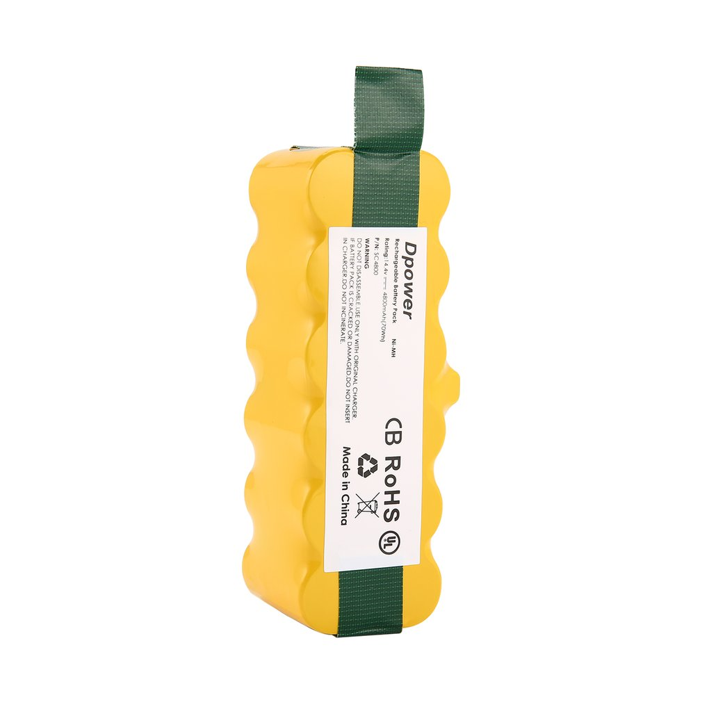 14.4V NI-MH 6000mAh Rechargeable Battery pack For iRobot Roomba 500 600 700 800  900 Series Vacuum Cleaner  Yellow