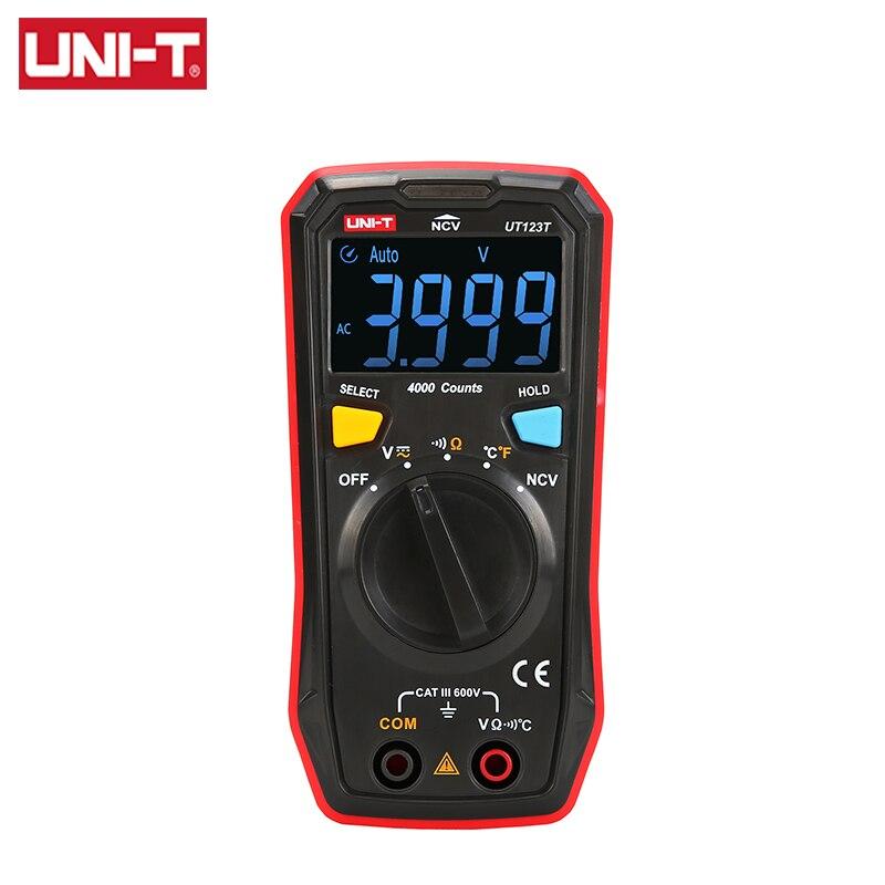 UNI-T мини цифровой мультиметр UT123T Авто AC DC Вольтметр Температура Напряжение метр бесконтактная проверка напряжения переменного частота пос...