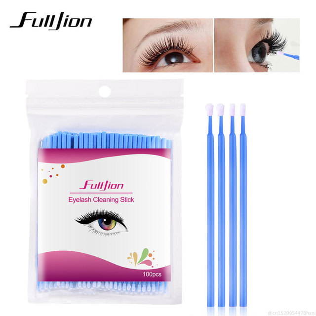 100Pcs Disposable Eyelash Cotton Swab Micro Brushes Eyelashes Extension Cleaning Sticks Brushes for Eyes Mascara Remove Makeup 3